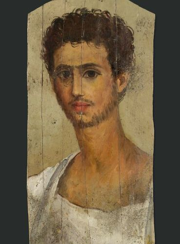 Portrait du Fayoum. Il est peint, sur fond gris vert, du buste légèrement vers l…