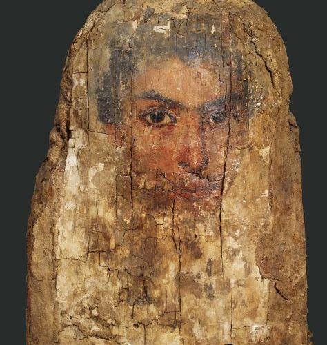Portrait du Fayoum. Il est peint du visage, légèrement de trois quarts, d'un hom…