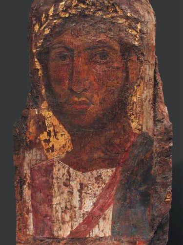 ÉGYPTE Portrait du Fayoum. Il est peint, sur fond or, du buste d'un militaire lé…