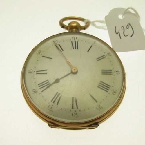 1 pocket watch in gold case with chiselled and guilloché decoration (gold plated…