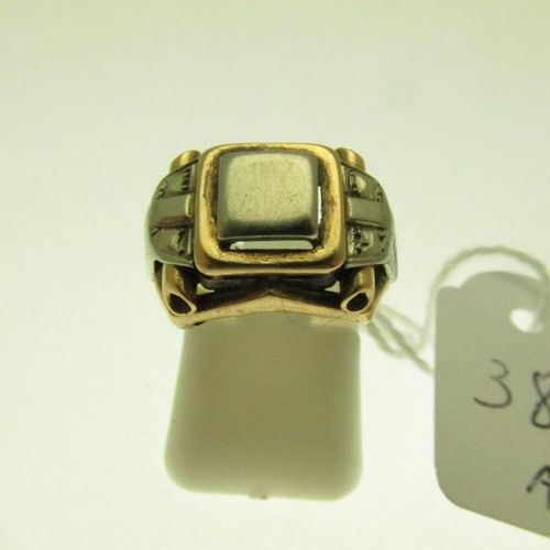 1 two tone gold signet ring, square top, not numbered, 1950s work, hunchbacked T…