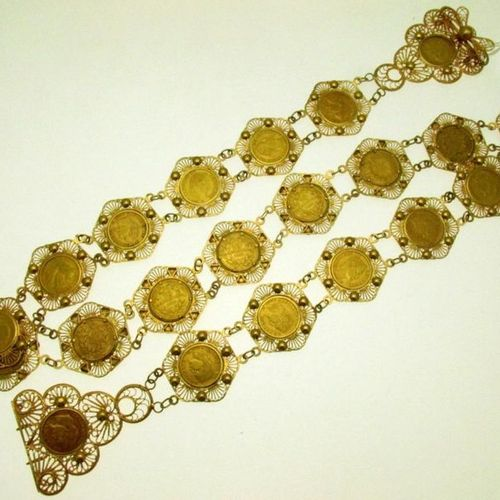 1 gold mounted belt with filigree and applied decoration, set with 22 pieces of …