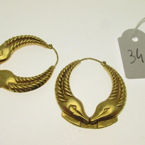 1 pair of creoles with fish decoration, gold embossed, hunchbacked 3.7g