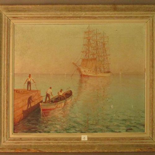 "Claude CHAVIGNAC, painter of the Lyon school of the XXth century, ""Marins au por…"
