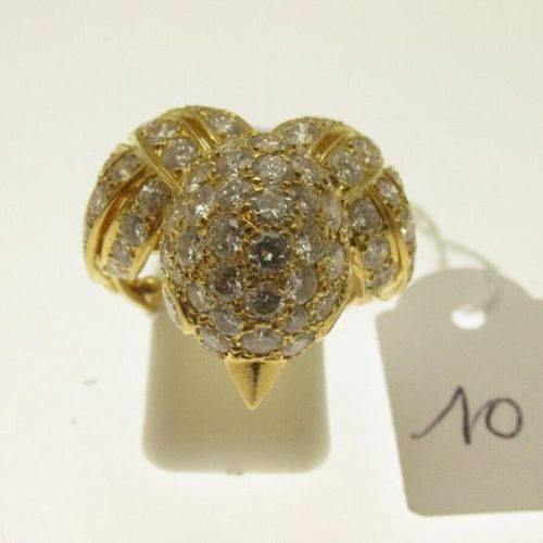 """1 """"chick"""" ring, openwork gold setting with a chick's head with stylised feathers…"""