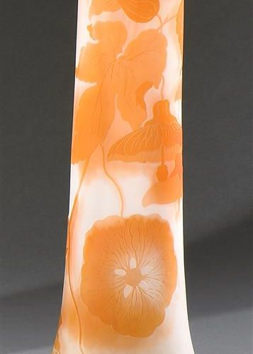 GALLÉ  Tubular vase with swollen base and conical neck. Proof in orange lined gl…