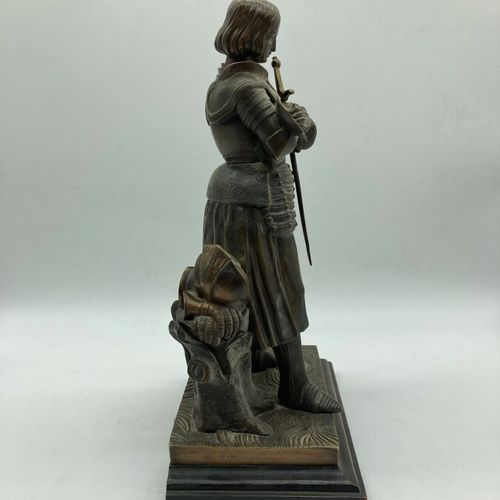 """FRENCH WORK  """"Joan of Arc"""". Proof in patinated gilt bronze on a quadrangular bas…"""