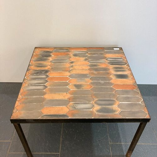 Roger CAPRON (1922 2006)  Coffee table with a square top in orange and grey diam…
