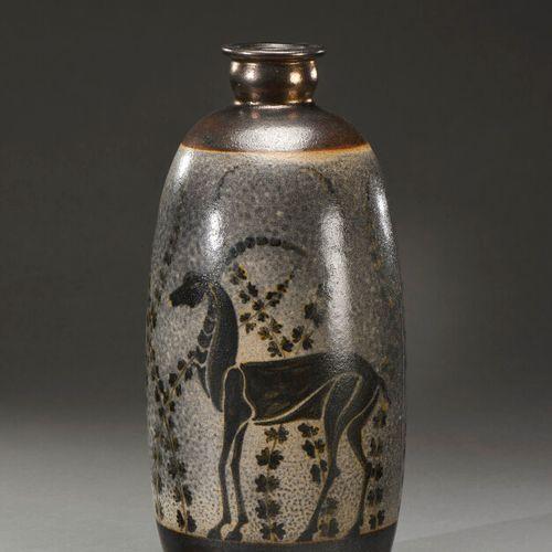 PRIMAVERA PARIS  Ceramic vase with a shouldered obusal body and a narrow neck wi…