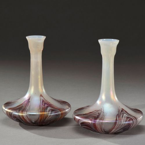 LOETZ (in the taste of)  Pair of soliflores with flattened ovoid base and long t…