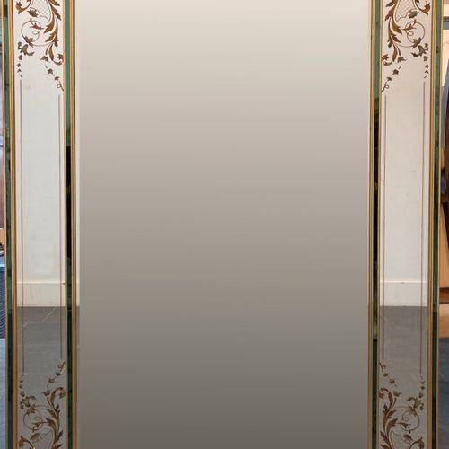 FRENCH WORK  A large rectangular mirror with an eglomerate glass frame decorated…