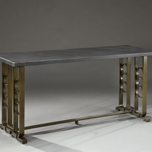 Edgar Brandt (attributed to)  Console table in patinated bronze with a rectangul…