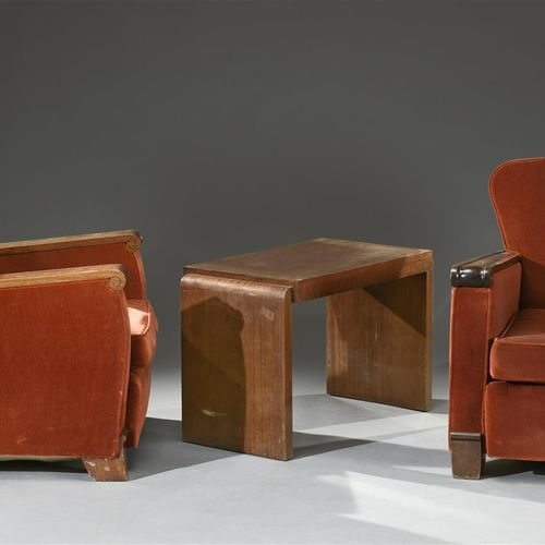 Gaston POISSON (attributed to)  Pair of armchairs in varnished mahogany with str…