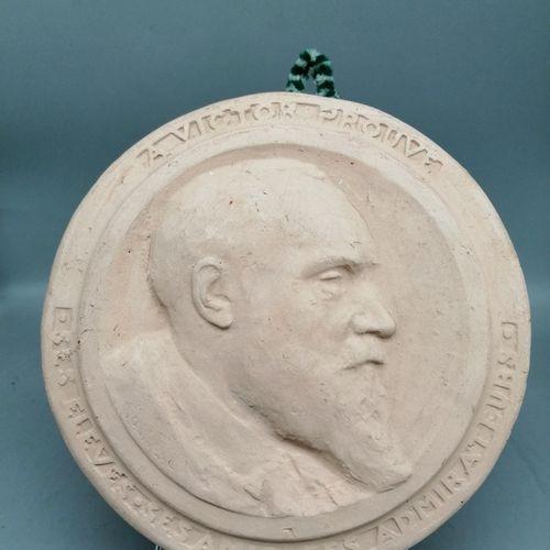"""Louis GUINGUOT (1864 1948) & C. MULLER (ceramist)  """"Victor Prouvé"""". Circular bas…"""
