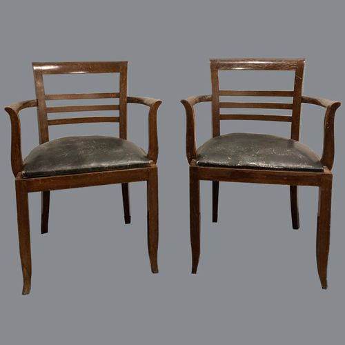 FRENCH WORK 1940  Pair of varnished wood armchairs with slightly curved square o…