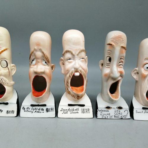 "VICTORIA CERAMIC (Japan)  ""Comic singers"". Five polychrome ceramic subjects repr…"