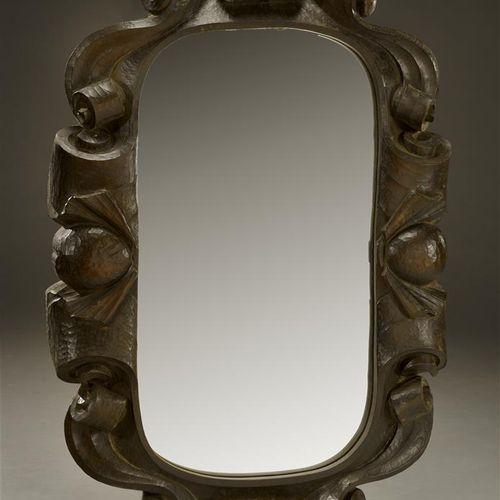 MODERN WORK  Large varnished wood mirror with large gouge carved borders.  H. 65…
