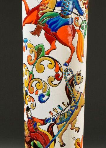 "LONGWY & Evgenia MIRO  ""Russia"". Tubular vase in polychrome enamelled ceramic en…"