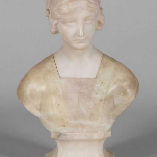 FRENCH OR ITALIAN WORK About 1900  Bust of a young girl.  Proof in alabaster.  H…