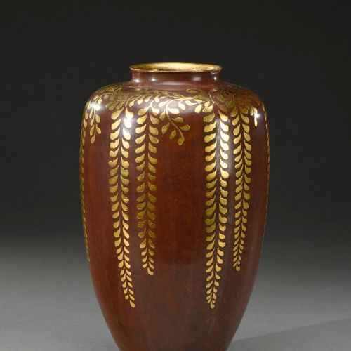 CHRISTOFLE HOUSE (20th century)  Vase with ovoid body and annular neck in copper…