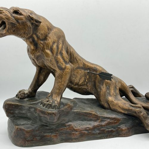 """Louis Albert CARVIN (1875 1951)  """"Wounded tiger"""".  Proof in gilded bronze with s…"""