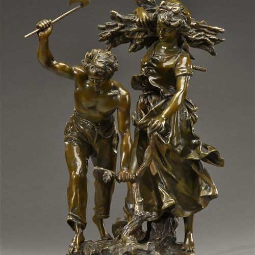 "Hippolyte Moreau (1832 1927)  ""Couple of faggots"".  Proof in bronze with a shade…"