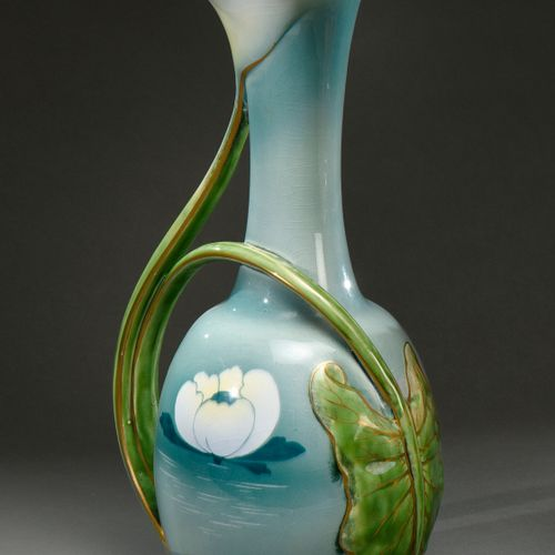 KELLER & GUERIN Lunéville  Ceramic pitcher with small spherical body and long cu…