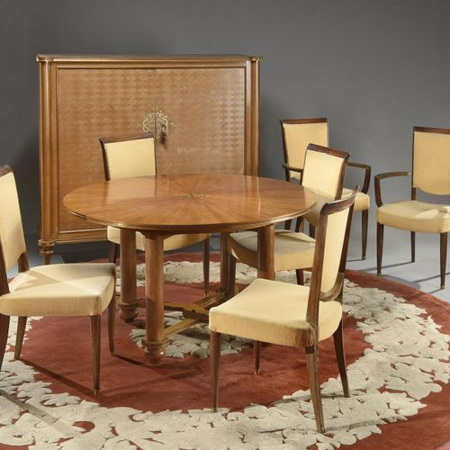Jules LELEU (1883 1961)  Varnished mahogany dining room furniture consisting of …
