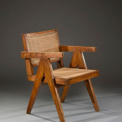 Pierre Jeanneret  Office armchair in solid teak, cane seat.  Circa 1950. Made fo…