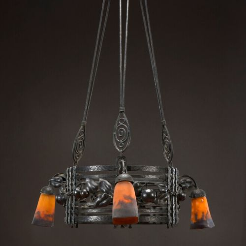 """MULLER FRERES LUNEVILLE  Wrought iron """"Apples"""" suspension with circular body and…"""