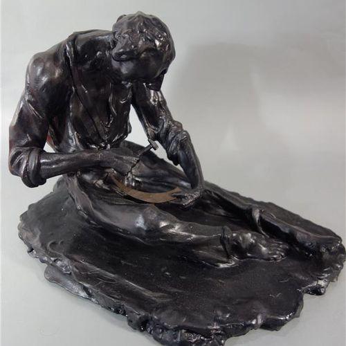 """Alfred PINA (1887 1966)  """"Man sharpening his scythe"""".  Black patinated and gloss…"""