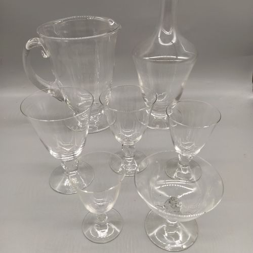 """DAUM  Service set model """" Orval """". Proofs in white crystal blown moulded and fee…"""