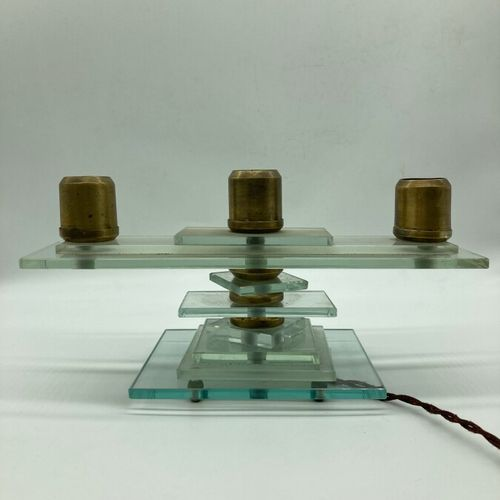MODERNIST WORK  Table lamp with three lights composed of thick rectangular glass…