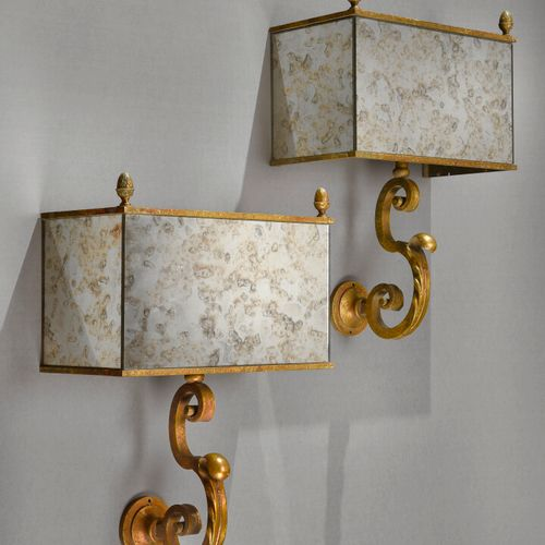 FRENCH WORK 1940  Pair of sconces decorated with small acorns in the upper part …