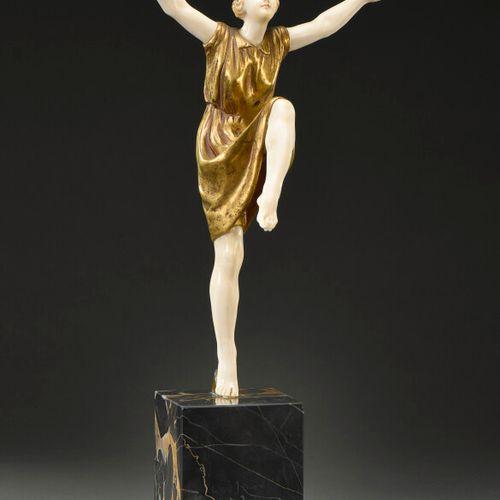 """Lucien ALLIOT (1877 1967)  """"Dancer with raised arms"""". Chryselephantine with ivor…"""