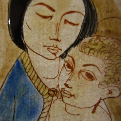 """SANT VICENS (Factory)  """"Madonna and Child"""".  Decorative ceramic plate with recta…"""