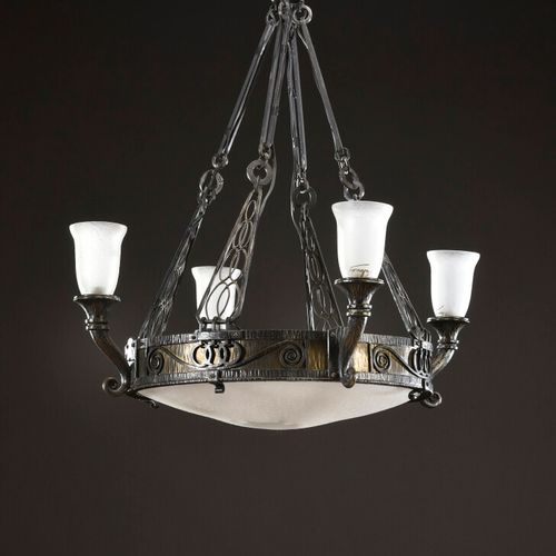 Charles PIGUET (1887 1942)  Wrought iron hanging lamp with four horn shaped ligh…