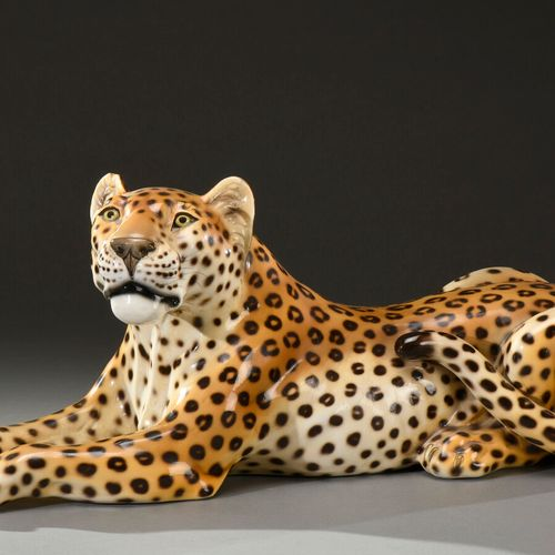 """RONZAN BASSANO ITALY  """"Leopard"""". Proof in polychrome enamelled ceramic.  Signed …"""