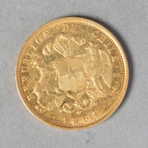 CHILI  10 PESOS 1864 26000 ex , assez rare  15 gr 22  KM 131  TTB+