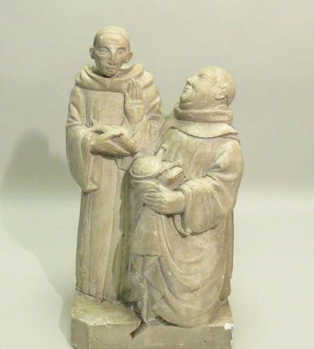 Groupe en plâtre représentant deux moines. Xxème siècle. 45 x 17 x 24 cm (accide…