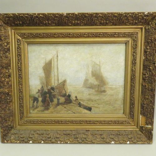 Ecole flamande de la fin du XIXème siècle ?. Retour de pêche. Huile sur panneau,…