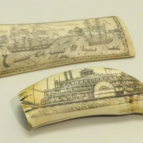"According to ""Scrimshaws"" (objects worked by whalers). Batch of two copies, bone…"