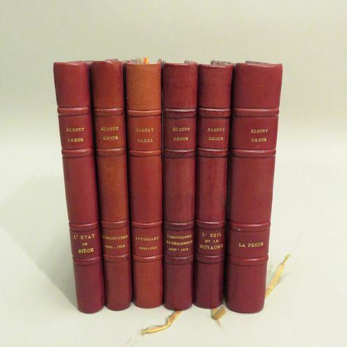 ALBERT CAMUS. Ensemble de six ouvrages, reliures en demi maroquin, dos à 4 nerfs…