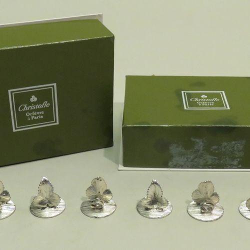 CHRISTOFLE, France. Suite de seize porte bristols en métal argenté (états moyens…