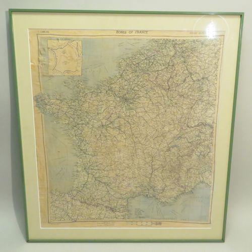 """Carte en tissus (foulard) encadré """"Zones of France Second Edition"""", 1944. 60,5 x…"""