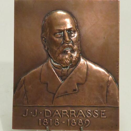 """V.S. CANALE. Plaque commémorative en cuivre (bas relief) à l'effigie de """"J.J. DA…"""