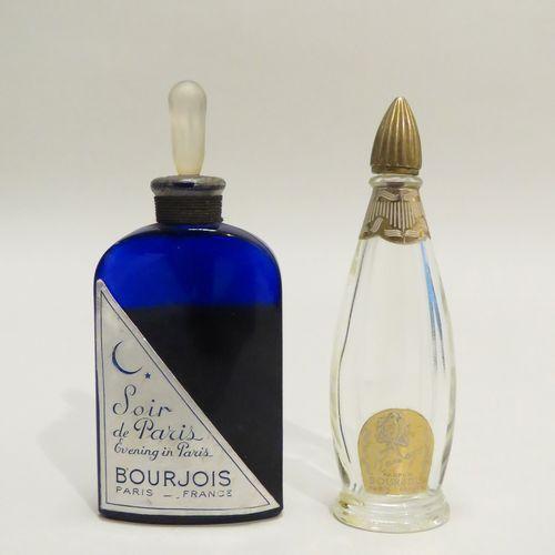 BOURJOIS  Lot de deux flacons comprenant « Ramage », flacon en verre étiquette  …