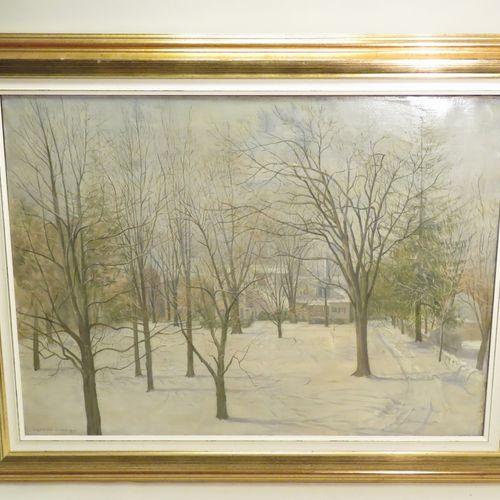 "Eugene Paul ULLMAN (1877 1953). ""Snow in Connecticut"", 1944. Huile sur toile, si…"