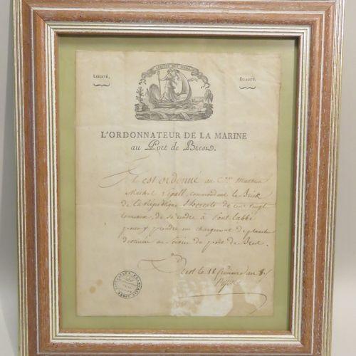 L'ORDONNATEUR DE LA MARINE au Port de Brest. Document manuscrit (Le Vaisseau HER…