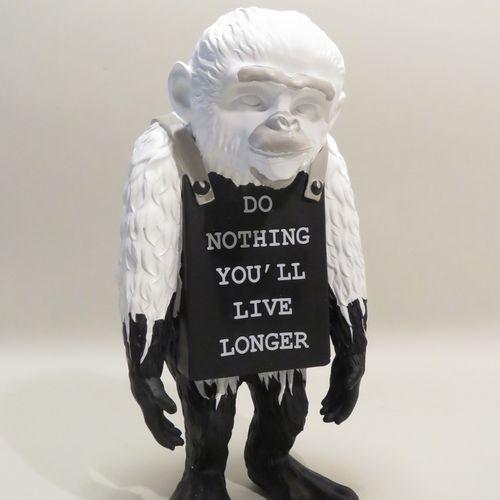"D'après BANKSY (né en 1974) & BRANDALISM. ""Monkey Sign Do Nothing you'll Live Lo…"
